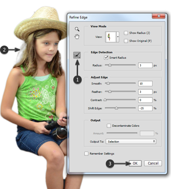 Use the Refine Radius tool to select the softer hair area